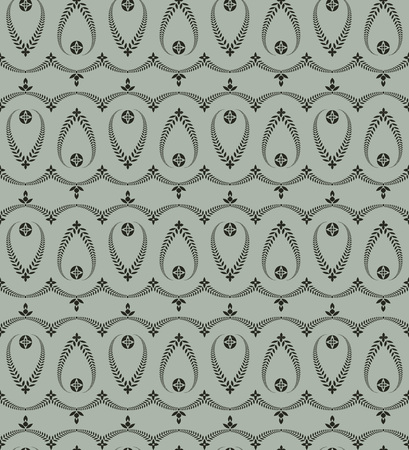 honouring: Seamless laurel wreath pattern of cross ornament. Lace view texture. Ceremonial, religious background. Gray, green colored. Vector Illustration