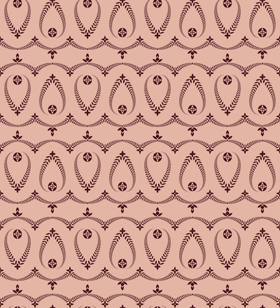honouring: Seamless laurel wreath pattern of cross ornament. Lace view texture. Ceremonial, religious background. Dark vinous, maroon, rose colored. Vector