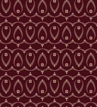 winter wheat: Seamless laurel wreath pattern of cross ornament. Lace view texture. Ceremonial, religious background. Dark vinous, maroon colored. Vector