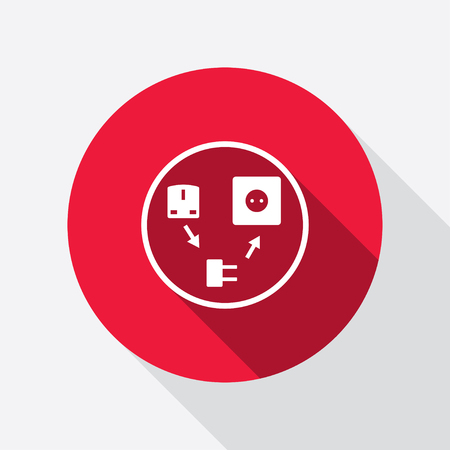plug adapter: Electric plug icon. Adapter symbol. European, British standard. Round red sign with long shadow. Vector
