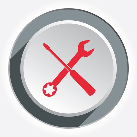Screwdriver and wrench key icon. Repair fix tool symbol. Red sign on round white-gray button with shadow. Vector