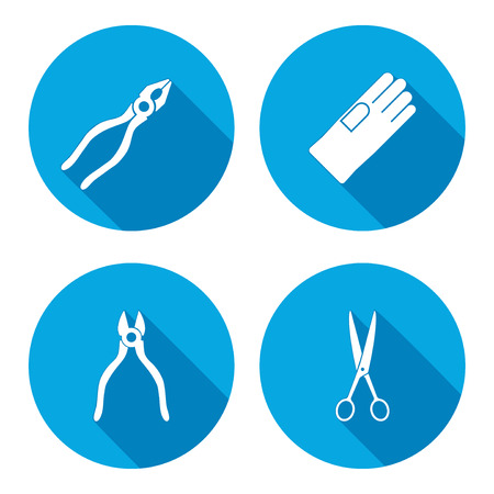 tongs: Pliers, scissors, glove, tongs icons set. Repair, fix, industrial tool symbol. Round button with long shadow. Vector
