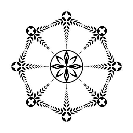 fertility emblem: Laurel wreath tattoo icon. Black ornament. Cross sign on white background. Defense, harmony, glory symbol. Vector Illustration