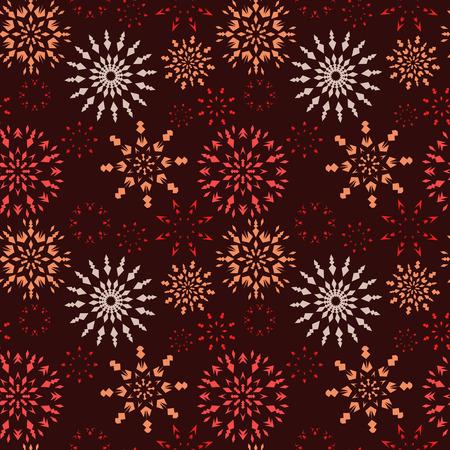 dark brown background: Christmas seamless pattern. Red, orange snowflakes on dark brown background. Winter theme retro texture. Chocolate theme. Vector illustration.
