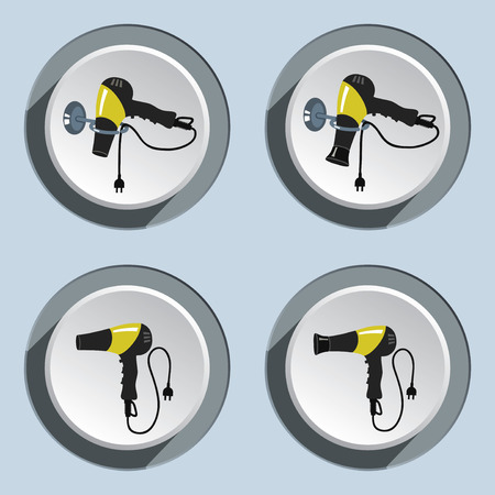 blow dryer: Hairdryer, blow dryer with two-pin plug on stand icons set. Professiona hairdresser tool symbol. Black yellow colored signs on white-gray button. Vector