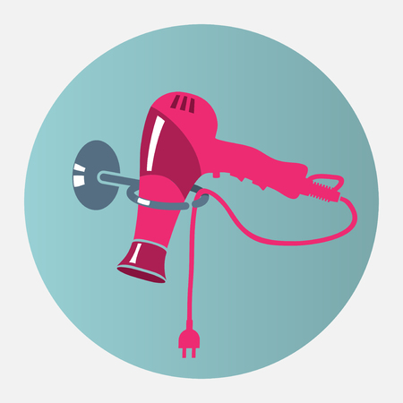 Hairdryer, blow dryer with two-pin plug on stand icon. Professiona hairdresser tool symbol. Magenta, blue colored sign. Vector