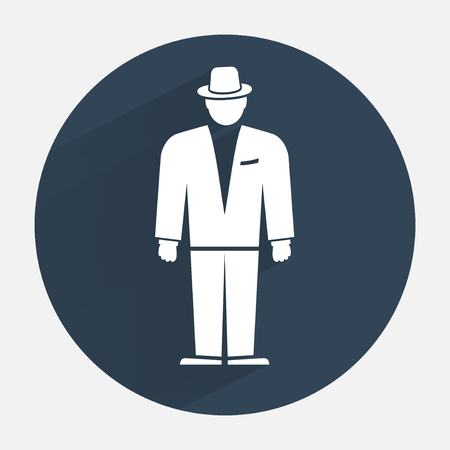 functionary: Man icon. Office worker symbol. Standing figure in suit, hat. Round dark gray icon with long shadow. Vector isolated