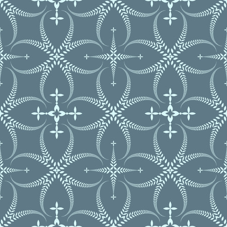 honouring: Religion seamless pattern. Laurel wreath, lace view texture with cross. Ceremonial, funeral background. Swirl stylized ornament. Gray, blue colored. Vector