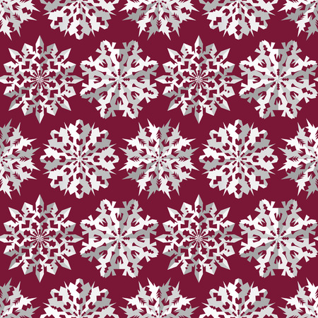 Origami snowflake seamless pattern. Christmas, New Year texture. Paper cut out three-dimensional white signs on dark red, vinous background. Vector