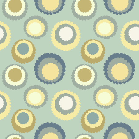 motley: Abstract seamless dot, spotty pattern. Polka dot, motley texture. Circles with torn paper effect. Gray, yellow, soft colored. Winter theme. Vector