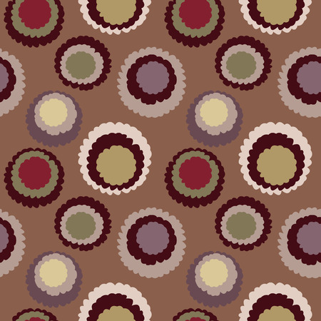 brindled: Abstract seamless dot, spotty pattern. Polka dot, motley texture. Circles with torn paper effect. Brown, coffee, chocolate, cocoa colored. Vector