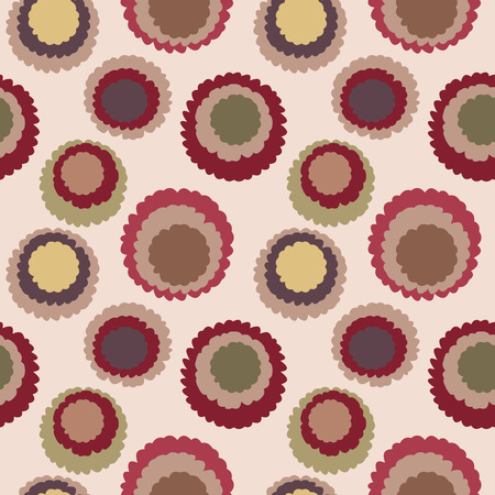 motley: Abstract seamless dot, spotty pattern. Polka dot, motley texture. Circles with torn paper effect. Brown, coffee, chocolate, cream colored. Vector