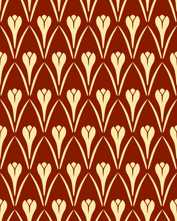 contrast floral: Seamless floral pattern. Crocus vintage background. Flower texture. Brown yellow contrast colored. Light signs on dark background. Vector Illustration