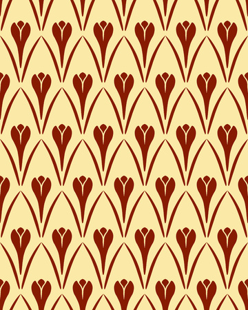 contrast floral: Seamless floral pattern. Crocus vintage background. Flower texture. Brown yellow contrast colored. Dark signs on light background. Vector