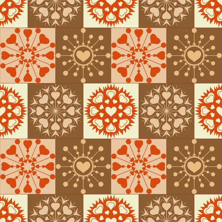 Christmas seamless pattern. Heart snowflakes. New Year, Valentine day, birthday texture. Unusual ornament. Orange, green, yellow colored background. Vector Illustration