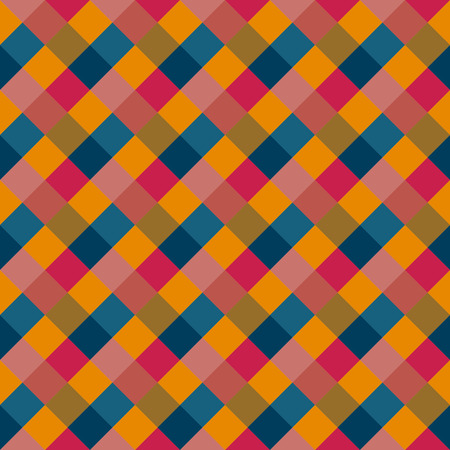variegated: Seamless geometric checked pattern. Diagonal square, woven line. Rhombus texture. Variegated kitsch, clown, holiday colored. Vector