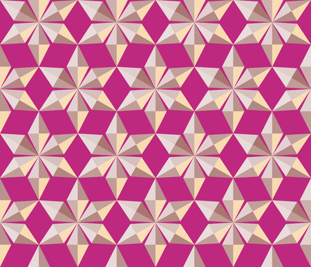Seamless christmas pattern. Crystal  shining snowflakes. Gold stars on magenta background. Winter, holiday, sale, ice cream wrapper texture. Vector