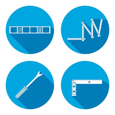 Gebouw gereedschap icon set. Zigzag duimstok, clinometer, hoek, pinchbar. Fix, controle, meten symbool. Ronde ondertekenen met lange schaduw. Vector