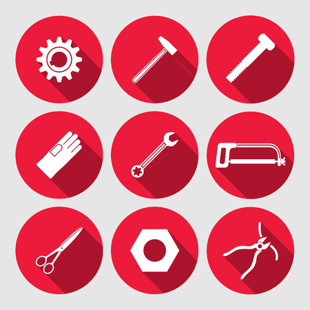 tongs: Tools icons set. Saw, pliers, tongs, wrench key, cogwheel, hammer, gloves, screw bolt, nut, scissors. Repair fix symbols. Round red signs with long shadow. Vector Illustration
