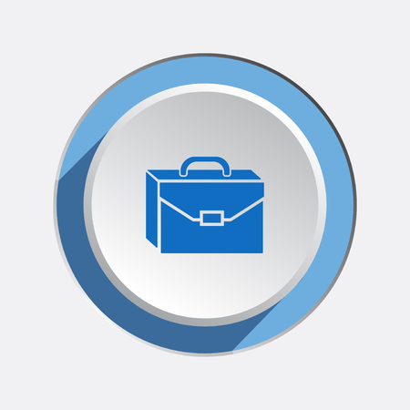 whiteblue: Baggage icon. Luggage for traveling. Transportation info symbol. Brief-case. Blue sign on white-blue button with shadow. Vector isolated
