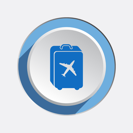 whiteblue: Airport baggage icon.  Hand luggage for traveling. Info symbol. Blue sign on white-blue 3d button with shadow. Vector isolated