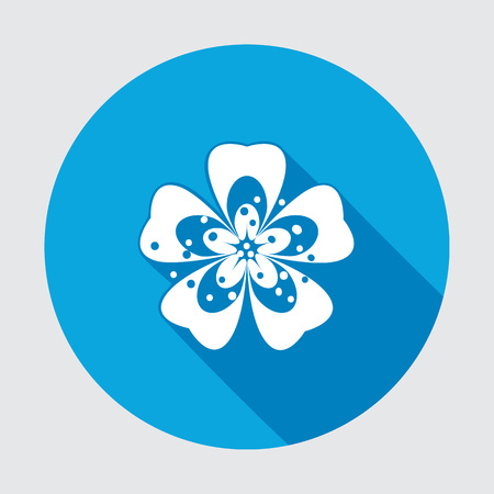 primula: Primula flower icons. Spring flowers. Floral symbol. Round blue flat icon with long shadow. May be used in cuisine. Vector isolated.