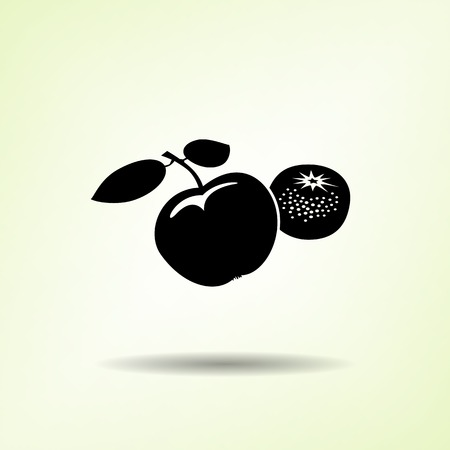 mandarins: Apple and mandarin icon. Two fruits black silhouette with shadow on light green backdround. Flat design. Vector isolated Illustration
