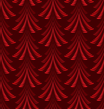 vinous: Seamless Christmas pattern. Firs, trees on dark red background. Twist stylized ornament of laurel leaves. Winter, New Year, nature texture. Vector