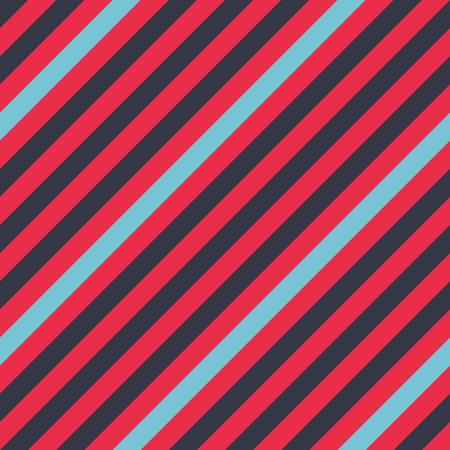 striated: Seamless geometric pattern. Stripy texture for neck tie. Diagonal contrast strips on background. Contrast blue, red colors. Vector
