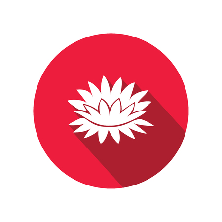nymphaea: Lily flower icons. Water-lilies, waterlily floral symbol. Round circle flat icon with long shadow. Vector Illustration