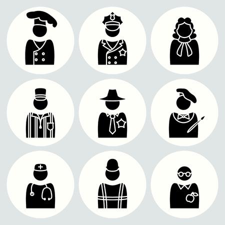 sherif: People profession icon set. Judge artist painter referee doctor teacher sherif cook builder constructor worker policeman. Business avatar symbols. Vector
