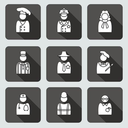 sherif: People profession icon set. Judge artist painter referee doctor teacher sherif cook builder constructor worker policeman. Person, avatar symbols. Vector Illustration