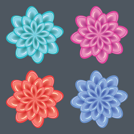 Flower icon set. Dahlia, aster, daisy, chamomile, chrysanthemum, gowan button. Ice, glass, frozen unusual  floral signs. Blue, red, rose, turquoise signs on dark gray background. Winter theme. Vector isolated