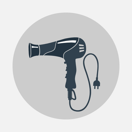 blow dryer: Hairdryer, blow dryer, two-pin plug icon. Professiona hairdresser tool symbol. Black sign on round gray flat button with shadow. Vector Illustration