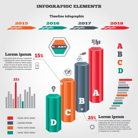 oilcan: Infographics elements set. Prismatic columns, three-dimensional chart of data, timeline diagram with icons and shadow. Four business step options. Vector