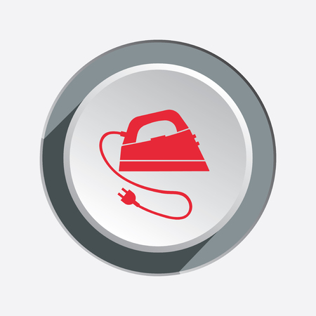 smoothing: Iron icon. Electric appliance for dress smoothing symbol. Red flat sign on three-dimensional white-gray button with shadow. Vector Illustration