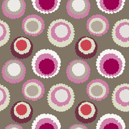 Seamless polka dot, motley texture. Abstract spotty pattern. Circles with torn paper effect. Soft gray, white, red colored. Cornflakes powdered sugar. Vector
