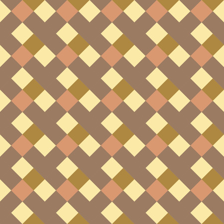 braiding: Seamless geometric checked pattern. Diagonal square, braiding, woven line background. Patchwork texture in warm, soft, light, gray, yellow, olive colors. Rhombus, staggered figure texture. Vector