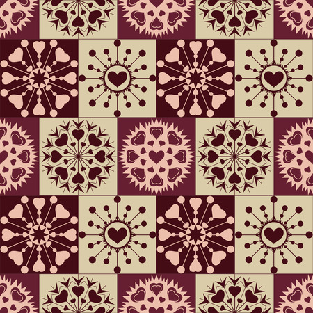 checked background: Christmas seamless pattern of heart snowflakes. New Year, Valentine day, birthday texture. Brown, vinous, gray, rose colored signs on checked background. Winter, coffee, chocolate theme. Vector Illustration