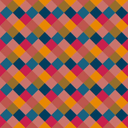 Seamless geometric pattern. Diagonal square, braiding, woven line background. Patchwork texture in warm, variegated, pastel, kitsch, clown, holiday colors. Rhomb figure texture. Vector