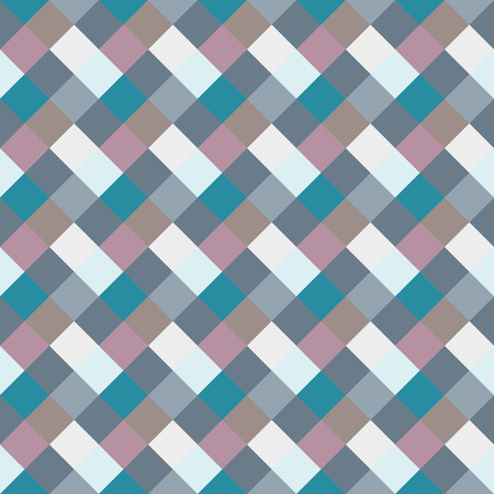 braiding: Seamless geometric checked pattern. Diagonal square, braiding, woven line background. Rhombus, patchwork, staggered figure texture. Light, blue, gray, turquoise, sea, soft colored. Winter theme. Vector
