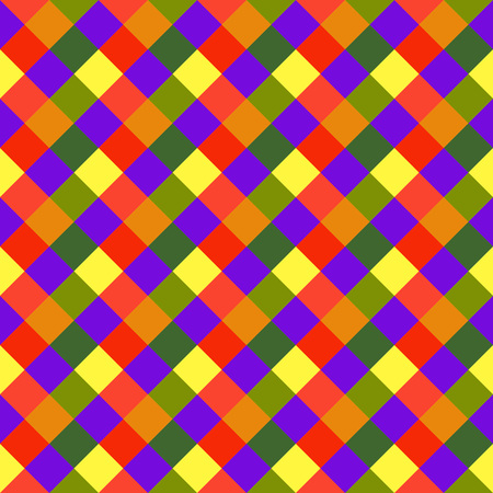variegated: Seamless geometric pattern. Diagonal, square, woven line background. Patchwork, rhombus, checked texture. Variegated, children, festival, clown, holiday colors. Vector