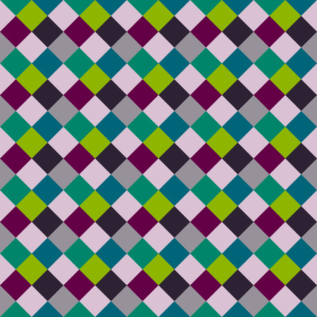 Seamless geometric checked pattern. Diagonal square, woven line background. Patchwork, rhombus, staggered texture. Green, gray, vinous colors. Winter theme. Vector