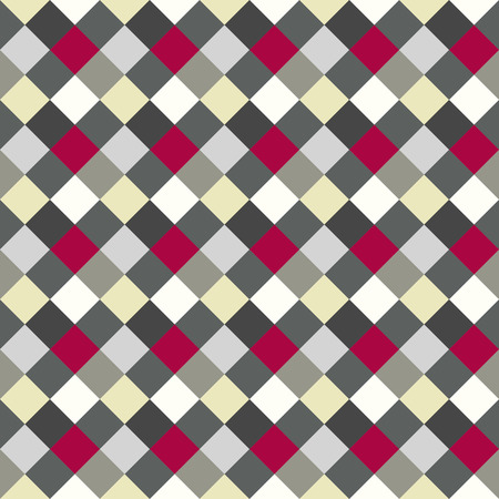 brindled: Seamless geometric checked pattern. Diagonal square, woven line background. Patchwork, rhombus, staggered texture. Gray, red, white colors. Winter theme. Vector