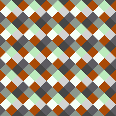 brindled: Seamless geometric checked pattern. Diagonal square, woven line background. Patchwork, rhombus, staggered texture. Orange, green, gray colors. Winter theme. Vector Illustration