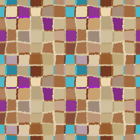 brindled: Seamless geometric mosaic checked pattern. Background of woven rectangles and squares. Patchwork, ceramic, tile texture. Warm, yellow, brown, blue, lilac, pastel colors. Vector Illustration
