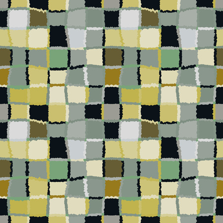 spliced: Seamless geometric mosaic checked pattern. Background of woven rectangles and squares. Patchwork, ceramic, tile texture. Gray, green, olive black colors. Vector Illustration