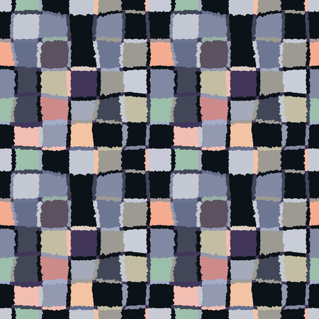 brindled: Seamless geometric mosaic checked pattern. Background of woven rectangles and squares. Patchwork, ceramic, tile texture. Cold, gray, black, green, rose colors. Vector
