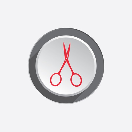 Small scissors tool icon. Cut symbol. Red sign on three-dimensional white-gray button with shadow. Vector