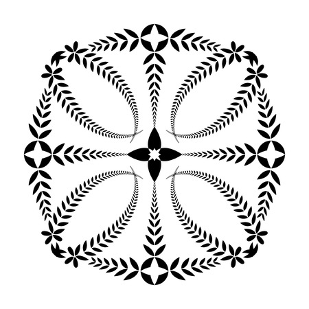 fertility emblem: Laurel wreath tattoo. Cross, sun ornament. Black sign on white background. Defense, harmony, glory symbol. Vector